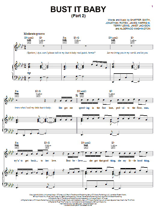 Plies Bust It Baby (Part 2) (feat. Ne-Yo) sheet music preview music notes and score for Piano, Vocal & Guitar (Right-Hand Melody) including 6 page(s)