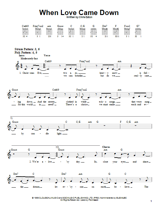 Point Of Grace When Love Came Down sheet music notes and chords