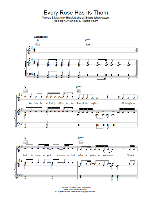 Poison Every Rose Has Its Thorn sheet music preview music notes and score for Lyrics & Piano Chords including 3 page(s)