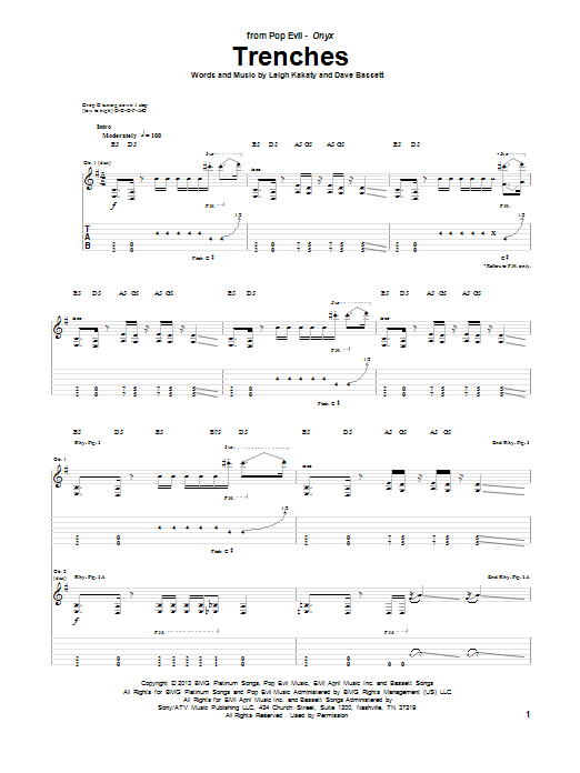Download Pop Evil 'Trenches' Digital Sheet Music Notes & Chords and start playing in minutes