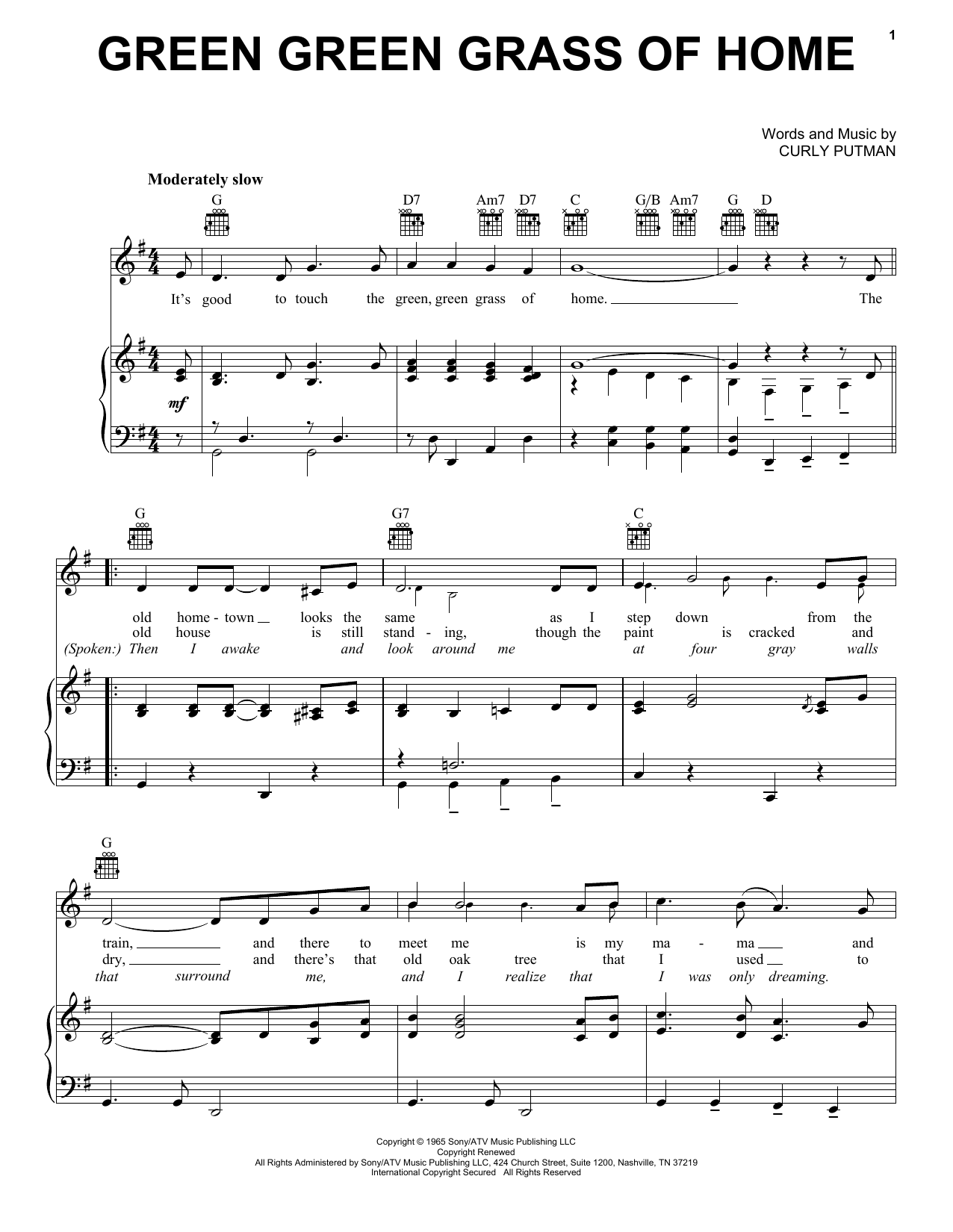 Porter Wagoner Green Green Grass Of Home sheet music preview music notes and score for Piano, Vocal & Guitar (Right-Hand Melody) including 3 page(s)