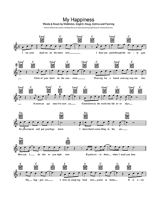 Powderfinger My Happiness sheet music preview music notes and score for Melody Line, Lyrics & Chords including 2 page(s)