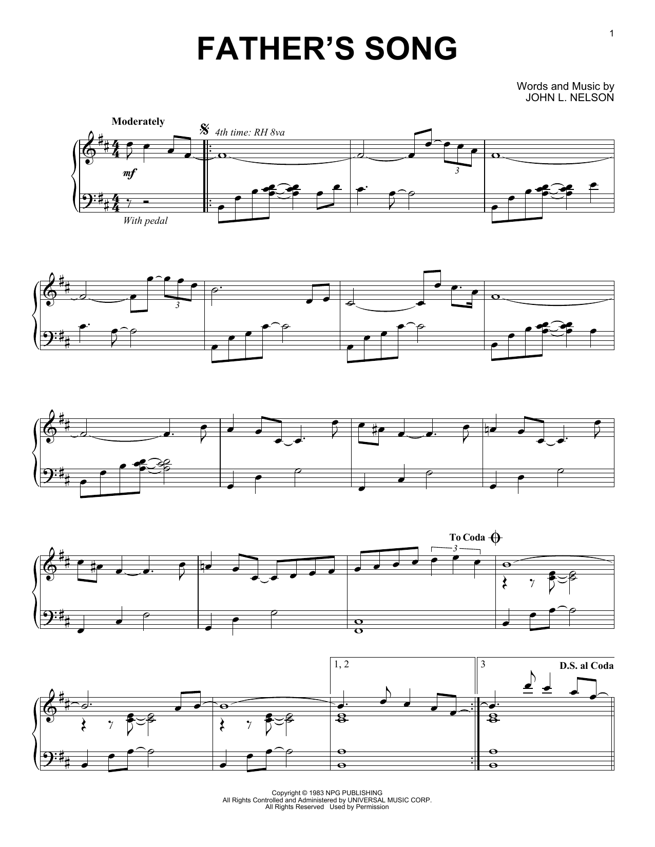 Download Prince 'Father's Song' Digital Sheet Music Notes & Chords and start playing in minutes