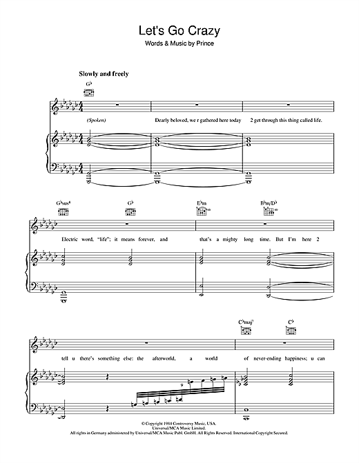 Prince Let's Go Crazy sheet music preview music notes and score for Drums Transcription including 2 page(s)