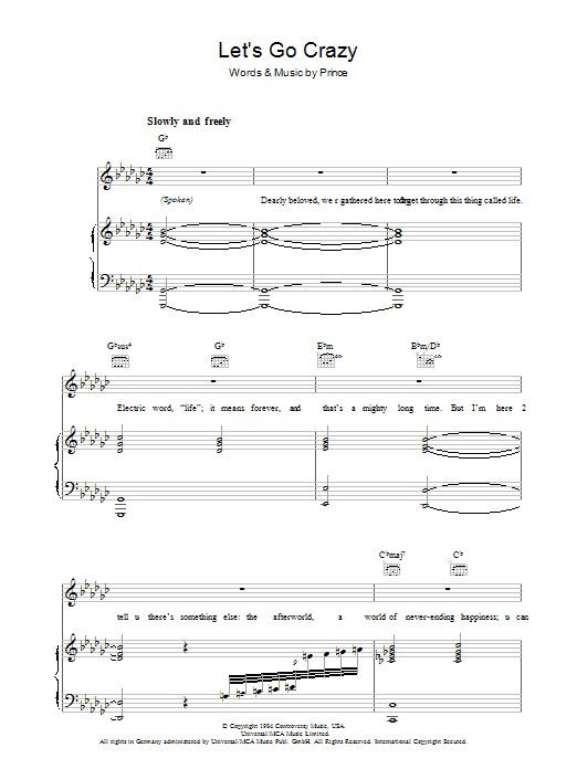 Prince Let's Go Crazy sheet music preview music notes and score for Bass Guitar Tab including 7 page(s)