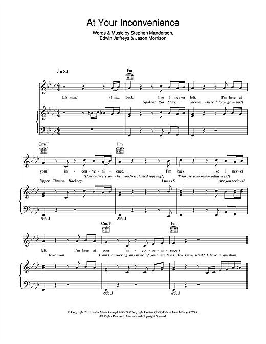 Download Professor Green 'At Your Inconvenience' Digital Sheet Music Notes & Chords and start playing in minutes