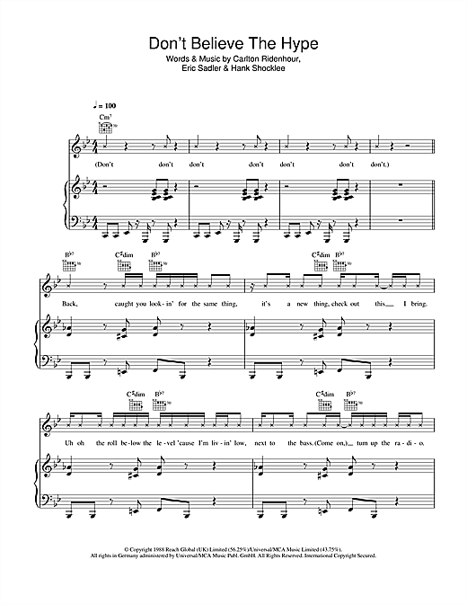 Download Public Enemy 'Don't Believe The Hype' Digital Sheet Music Notes & Chords and start playing in minutes