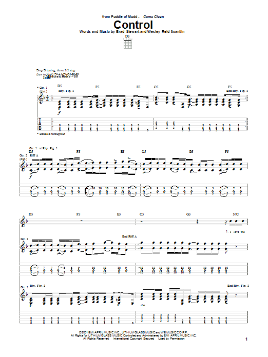 Puddle Of Mudd Control sheet music preview music notes and score for Guitar Tab including 6 page(s)