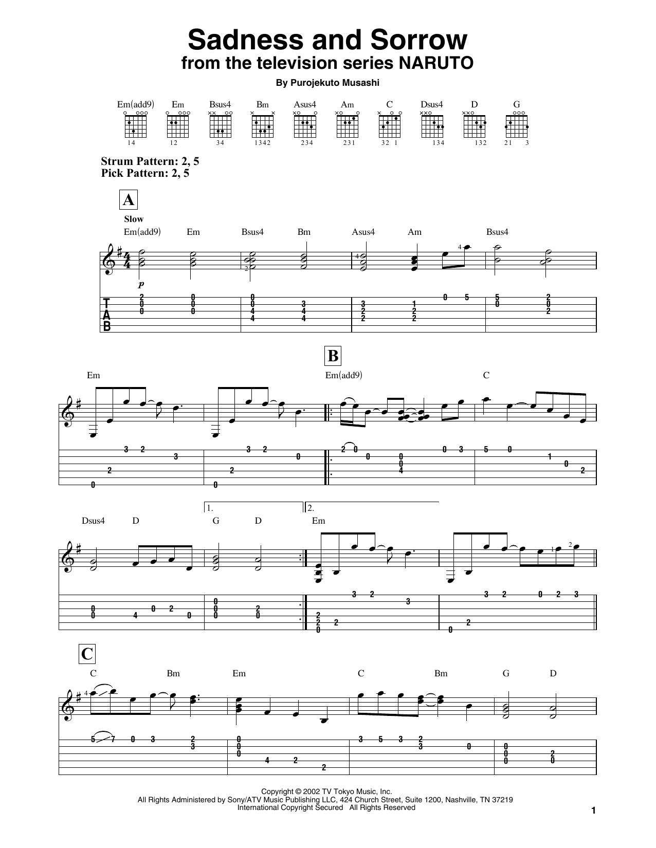 Download Purojekuto Musashi 'Sadness And Sorrow (from Naruto)' Digital Sheet Music Notes & Chords and start playing in minutes