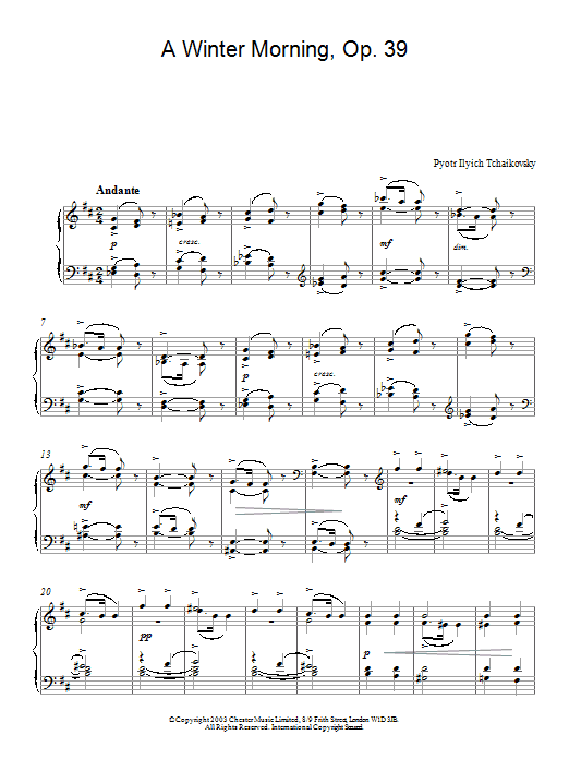 Pyotr Ilyich Tchaikovsky A Winter Morning, Op. 39, No. 2 (from Album For The Young) sheet music preview music notes and score for Piano including 2 page(s)