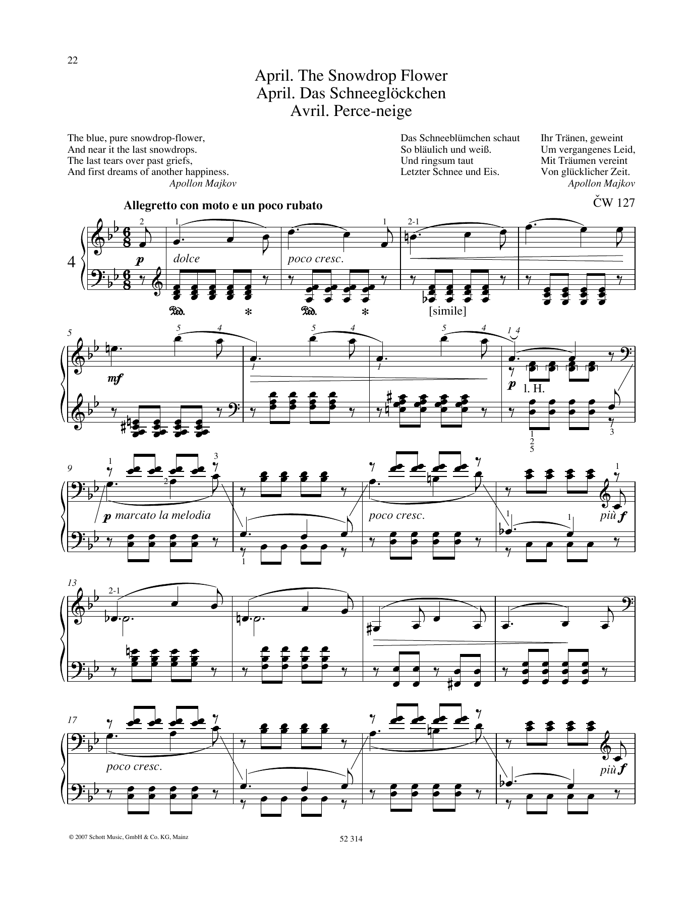 Pyotr Il'yich Tchaikovsky April sheet music preview music notes and score for Piano Solo including 4 page(s)