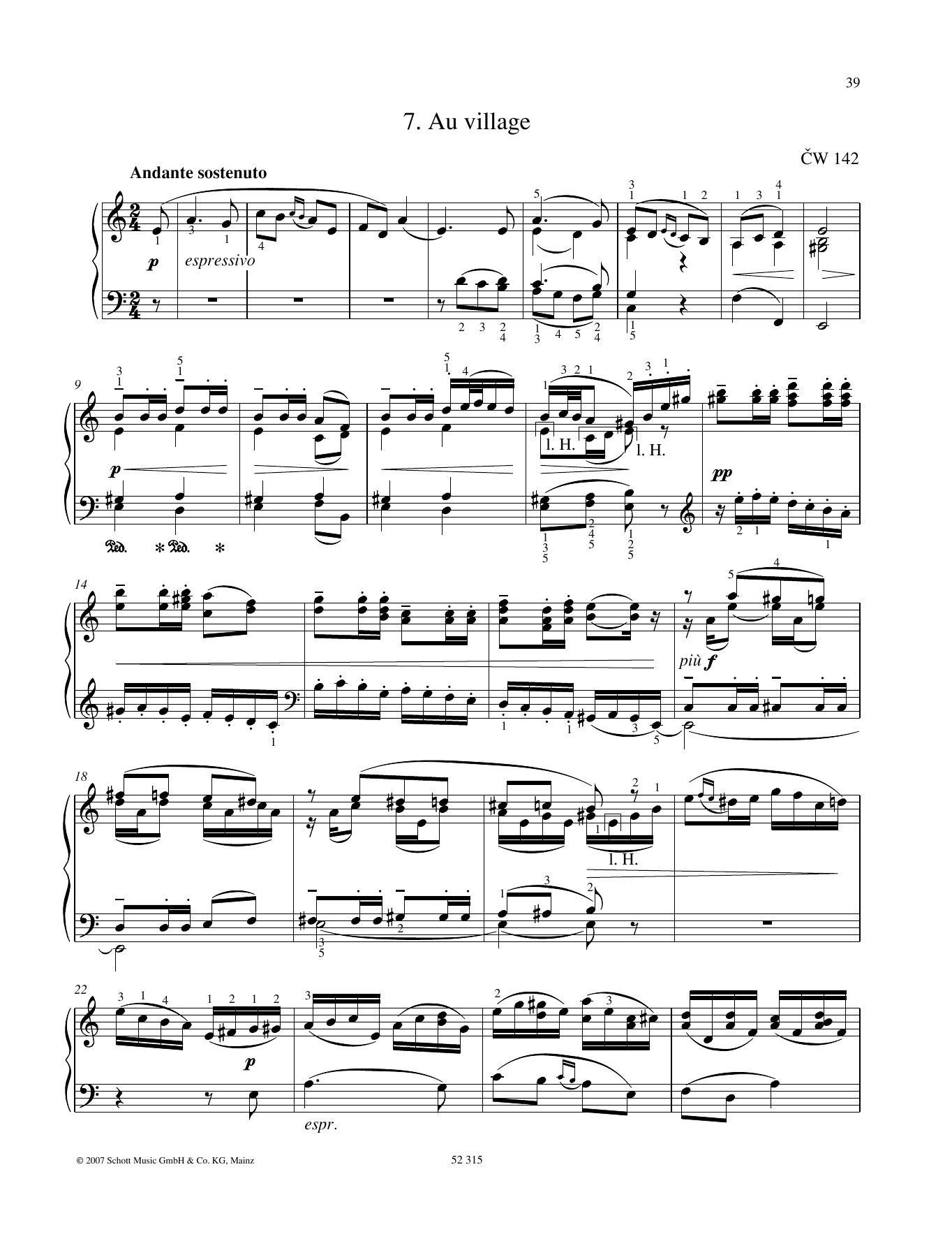 Pyotr Il'yich Tchaikovsky Au village sheet music preview music notes and score for Piano Solo including 7 page(s)