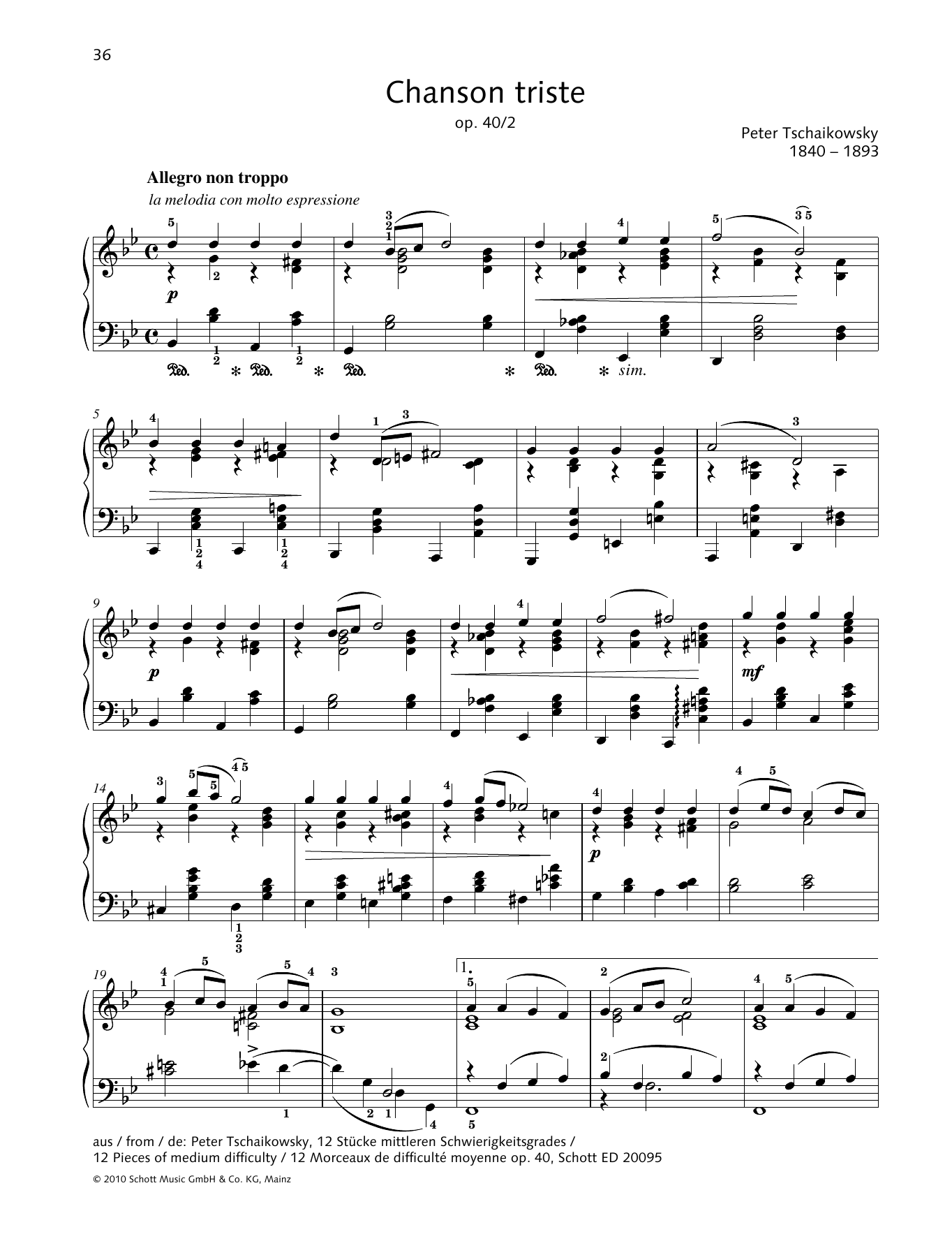 Pyotr Il'yich Tchaikovsky Chanson Triste sheet music preview music notes and score for Piano Solo including 2 page(s)