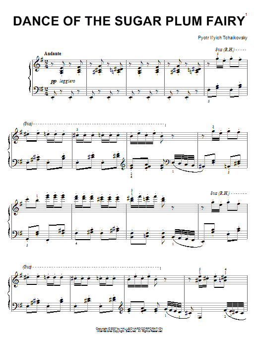 Pyotr Ilyich Tchaikovsky Dance Of The Sugar Plum Fairy (from The Nutcracker) sheet music preview music notes and score for Piano including 3 page(s)