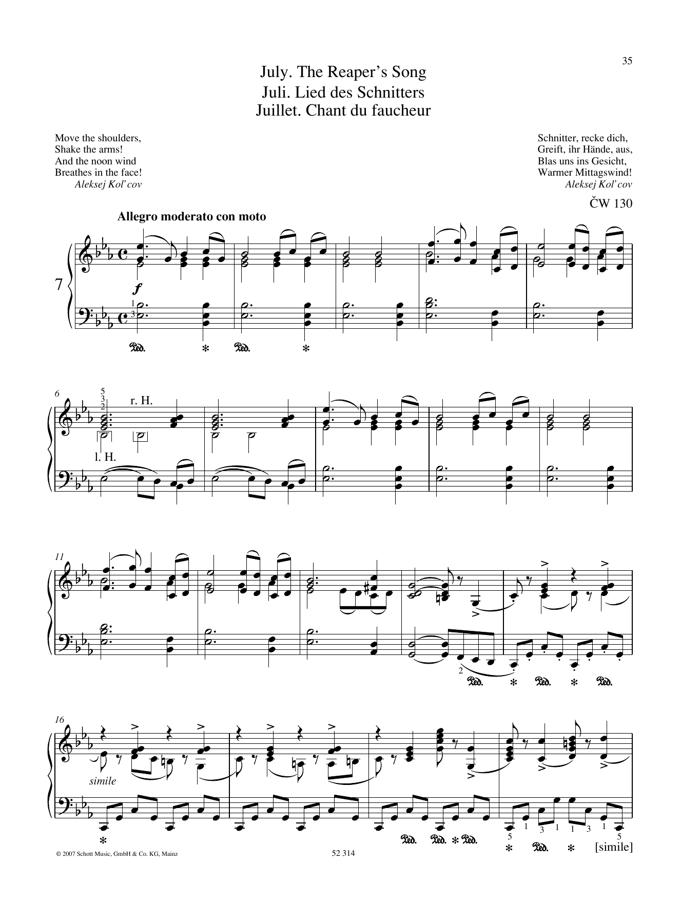 Pyotr Il'yich Tchaikovsky July sheet music preview music notes and score for Piano Solo including 4 page(s)