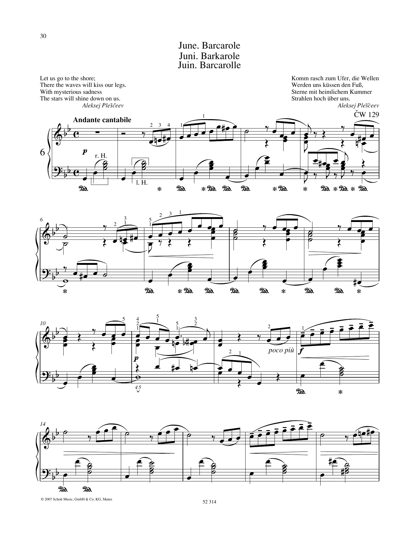 Pyotr Il'yich Tchaikovsky June sheet music preview music notes and score for Piano Solo including 5 page(s)