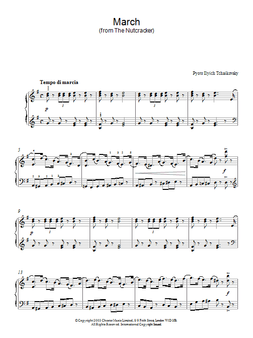Pyotr Ilyich Tchaikovsky March Of The Toys (from The Nutcracker Suite) sheet music preview music notes and score for Piano including 2 page(s)