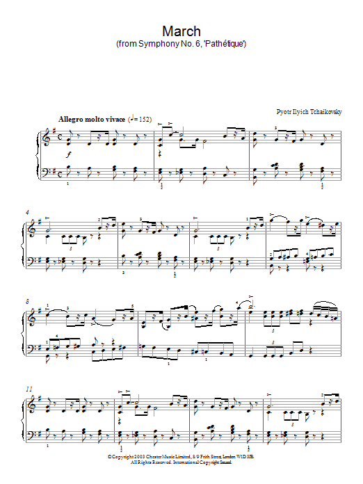 Pyotr Ilyich Tchaikovsky March (from Symphony No. 6, 'Pathétique') sheet music preview music notes and score for Piano including 3 page(s)