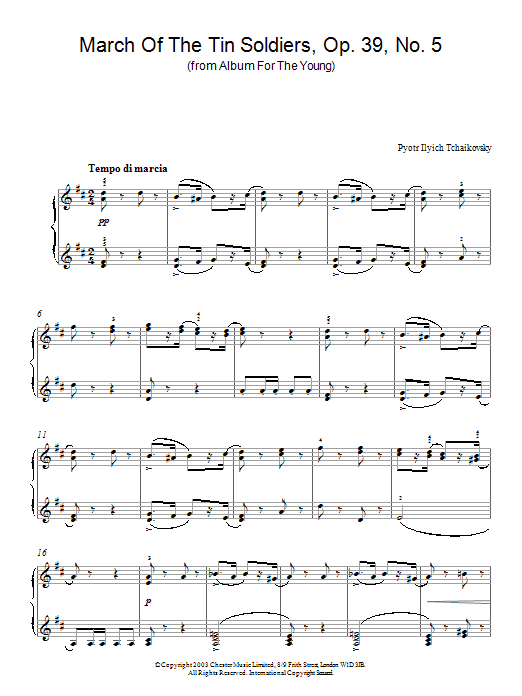 Pyotr Ilyich Tchaikovsky March Of The Tin Soldiers, Op. 39, No. 5 (from Album For The Young) sheet music preview music notes and score for Piano including 2 page(s)