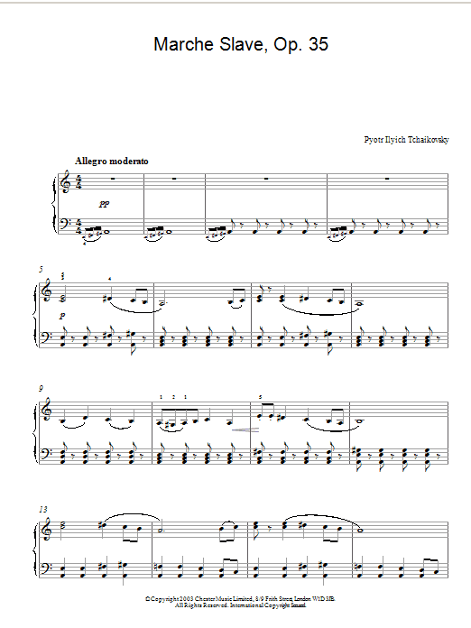 Pyotr Ilyich Tchaikovsky Marche Slave, Op. 31 sheet music preview music notes and score for Piano including 2 page(s)