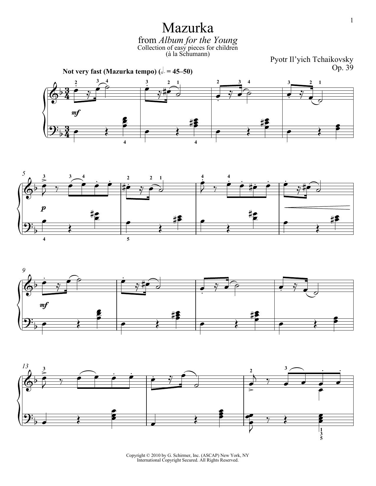 Pyotr Il'yich Tchaikovsky Mazurka sheet music preview music notes and score for Piano Solo including 6 page(s)