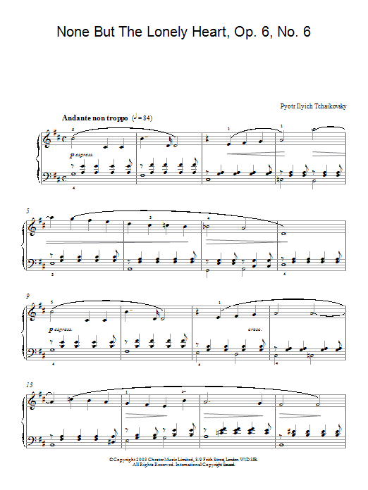 Pyotr Ilyich Tchaikovsky None But The Lonely Heart, Op. 6, No. 6 sheet music preview music notes and score for Piano including 3 page(s)
