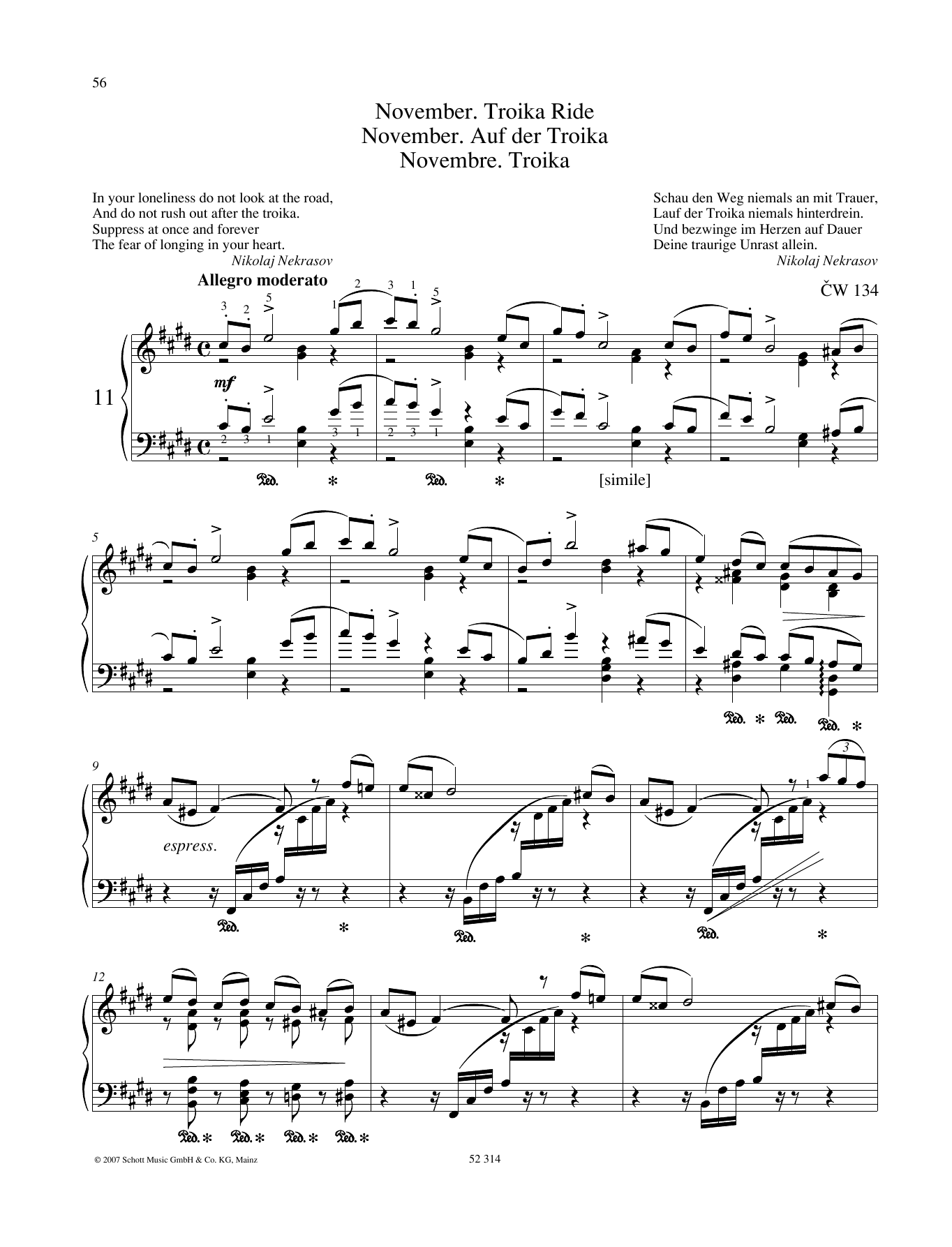 Pyotr Il'yich Tchaikovsky November sheet music preview music notes and score for Piano Solo including 7 page(s)