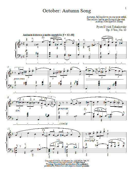 Download Pyotr Il'yich Tchaikovsky 'October: Autumn Song' Digital Sheet Music Notes & Chords and start playing in minutes