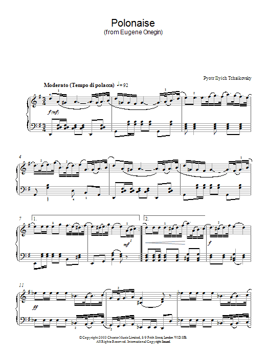 Pyotr Ilyich Tchaikovsky Polonaise (from Eugene Onegin) sheet music preview music notes and score for Piano including 4 page(s)
