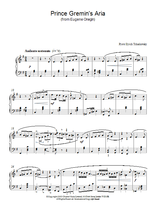 Pyotr Ilyich Tchaikovsky Prince Gremin's Aria (from Eugene Onegin) sheet music preview music notes and score for Piano including 3 page(s)