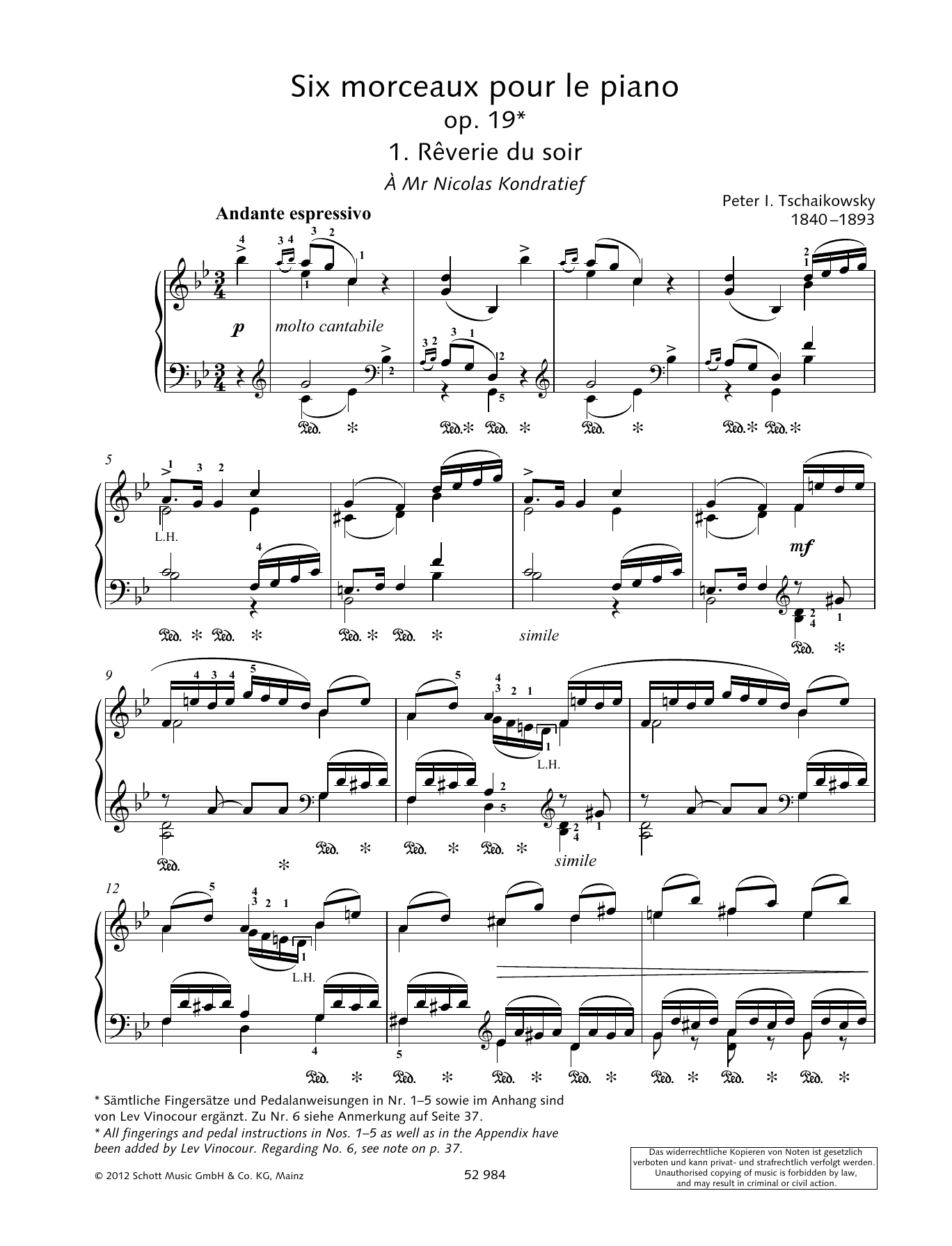 Pyotr Il'yich Tchaikovsky Reverie Du Soir sheet music preview music notes and score for Piano Solo including 5 page(s)