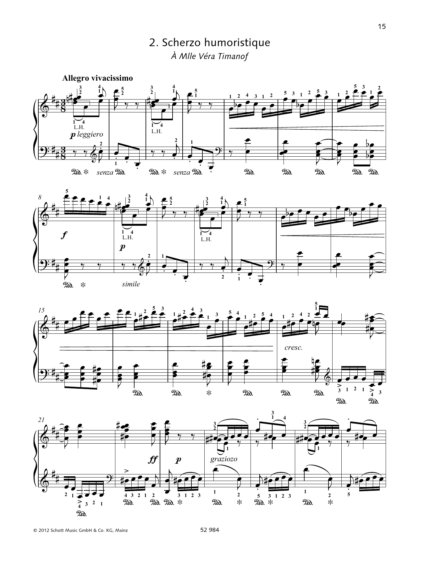 Pyotr Il'yich Tchaikovsky Scherzo Humoristique sheet music preview music notes and score for Piano Solo including 9 page(s)