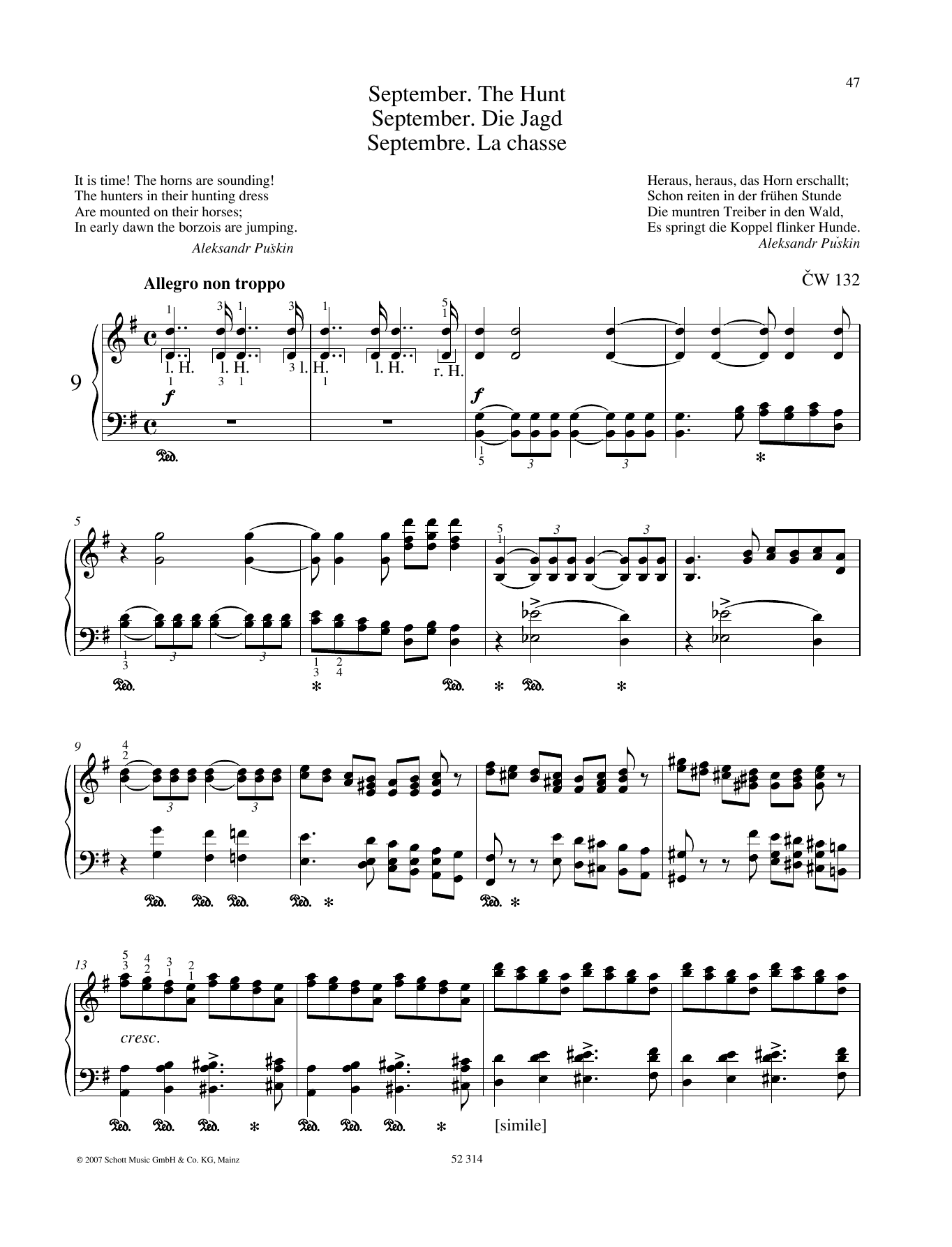 Pyotr Il'yich Tchaikovsky September sheet music preview music notes and score for Piano Solo including 5 page(s)