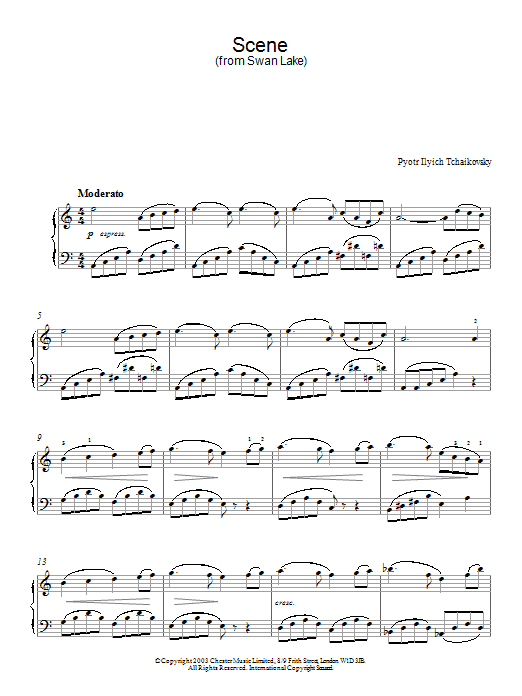 Pyotr Ilyich Tchaikovsky Scene from Swan Lake sheet music preview music notes and score for Piano including 3 page(s)