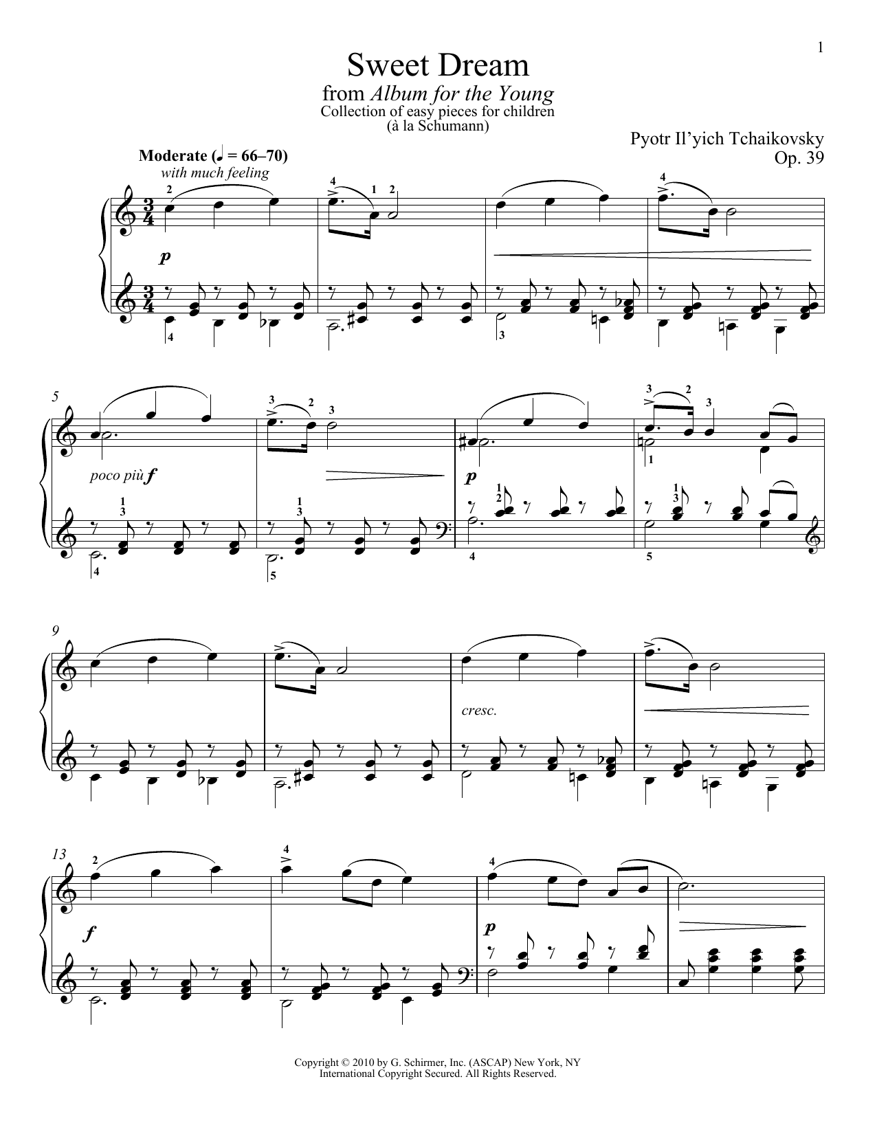 Download Pyotr Il'yich Tchaikovsky 'Sweet Dream (Douce Reverie), Op. 39, No. 21 (from Album For The Young)' Digital Sheet Music Notes & Chords and start playing in minutes