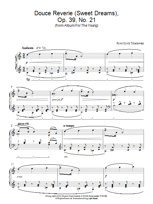 Pyotr Ilyich Tchaikovsky Douce Reverie (Sweet Dreams), Op. 39, No. 21 (from Album For The Young) sheet music preview music notes and score for Piano including 3 page(s)