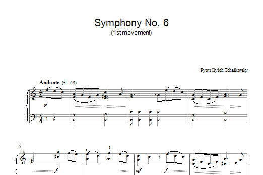 Pyotr Ilyich Tchaikovsky Symphony No. 6 (1st Movement) sheet music preview music notes and score for Piano including 2 page(s)