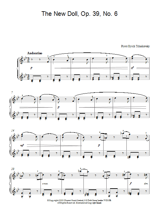 Pyotr Ilyich Tchaikovsky The New Doll, Op. 39, No. 6 (from Album For The Young) sheet music preview music notes and score for Piano including 2 page(s)