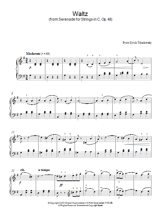 Pyotr Ilyich Tchaikovsky Waltz (from Serenade for Strings In C, Op. 48) sheet music preview music notes and score for Piano including 4 page(s)
