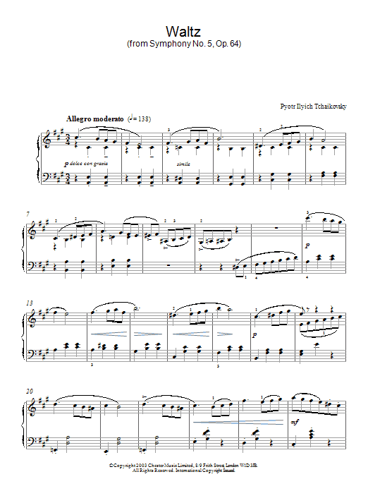 Pyotr Ilyich Tchaikovsky Waltz (from Symphony No. 5, Op. 64) sheet music preview music notes and score for Piano including 4 page(s)