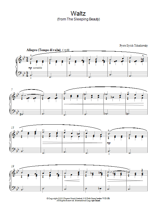 Pyotr Ilyich Tchaikovsky Waltz (from The Sleeping Beauty) sheet music preview music notes and score for Piano including 4 page(s)