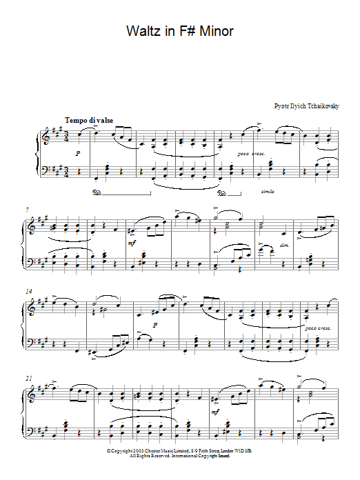 Pyotr Ilyich Tchaikovsky Waltz in F# Minor sheet music preview music notes and score for Piano including 7 page(s)