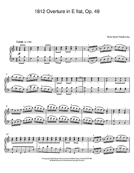 Download Pyotr Ilyich Tchaikovsky '1812 Overture in E flat, Op. 49' Digital Sheet Music Notes & Chords and start playing in minutes