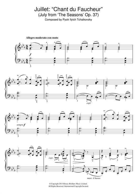 Download Pyotr Ilyich Tchaikovsky 'Chant du faucheur (July from 'The Seasons' Op. 37)' Digital Sheet Music Notes & Chords and start playing in minutes