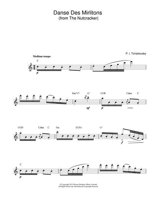 Download Pyotr Ilyich Tchaikovsky 'Danse Des Mirlitons (from The Nutcracker)' Digital Sheet Music Notes & Chords and start playing in minutes