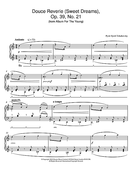Download Pyotr Ilyich Tchaikovsky 'Douce Reverie (Sweet Dreams), Op. 39, No. 21 (from Album For The Young)' Digital Sheet Music Notes & Chords and start playing in minutes