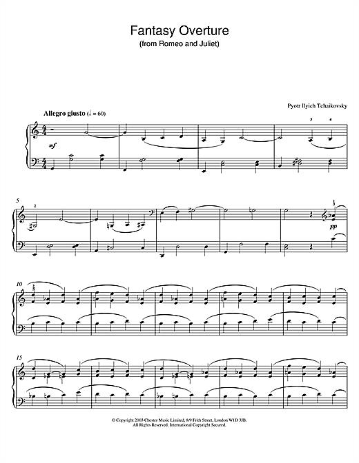 Download Pyotr Ilyich Tchaikovsky 'Fantasy Overture (from Romeo And Juliet)' Digital Sheet Music Notes & Chords and start playing in minutes