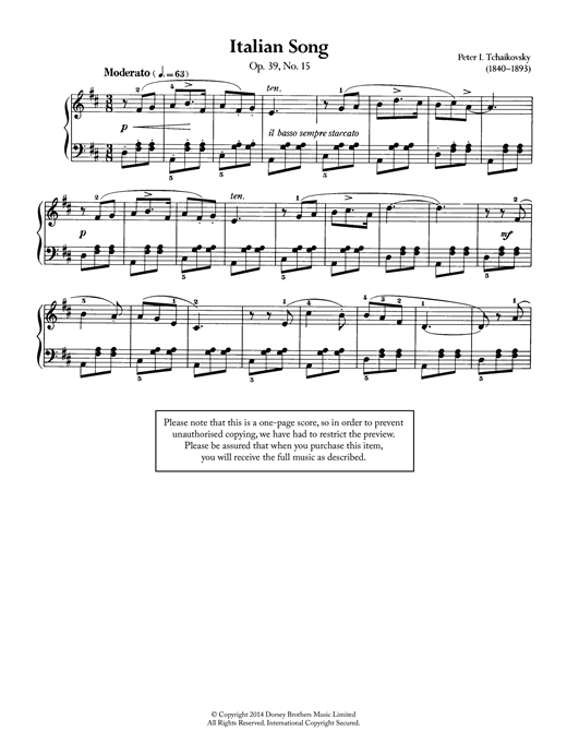Download Pyotr Ilyich Tchaikovsky 'Italian Song, Op.39 No.15' Digital Sheet Music Notes & Chords and start playing in minutes