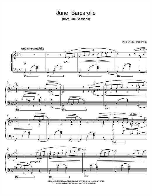 Download Pyotr Ilyich Tchaikovsky 'June: Barcarolle (from The Seasons)' Digital Sheet Music Notes & Chords and start playing in minutes