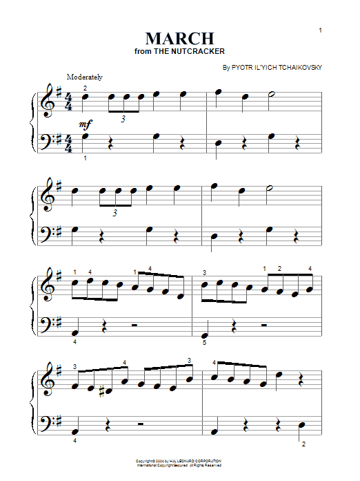 Pyotr Ilyich Tchaikovsky March sheet music preview music notes and score for Piano (Big Notes) including 2 page(s)